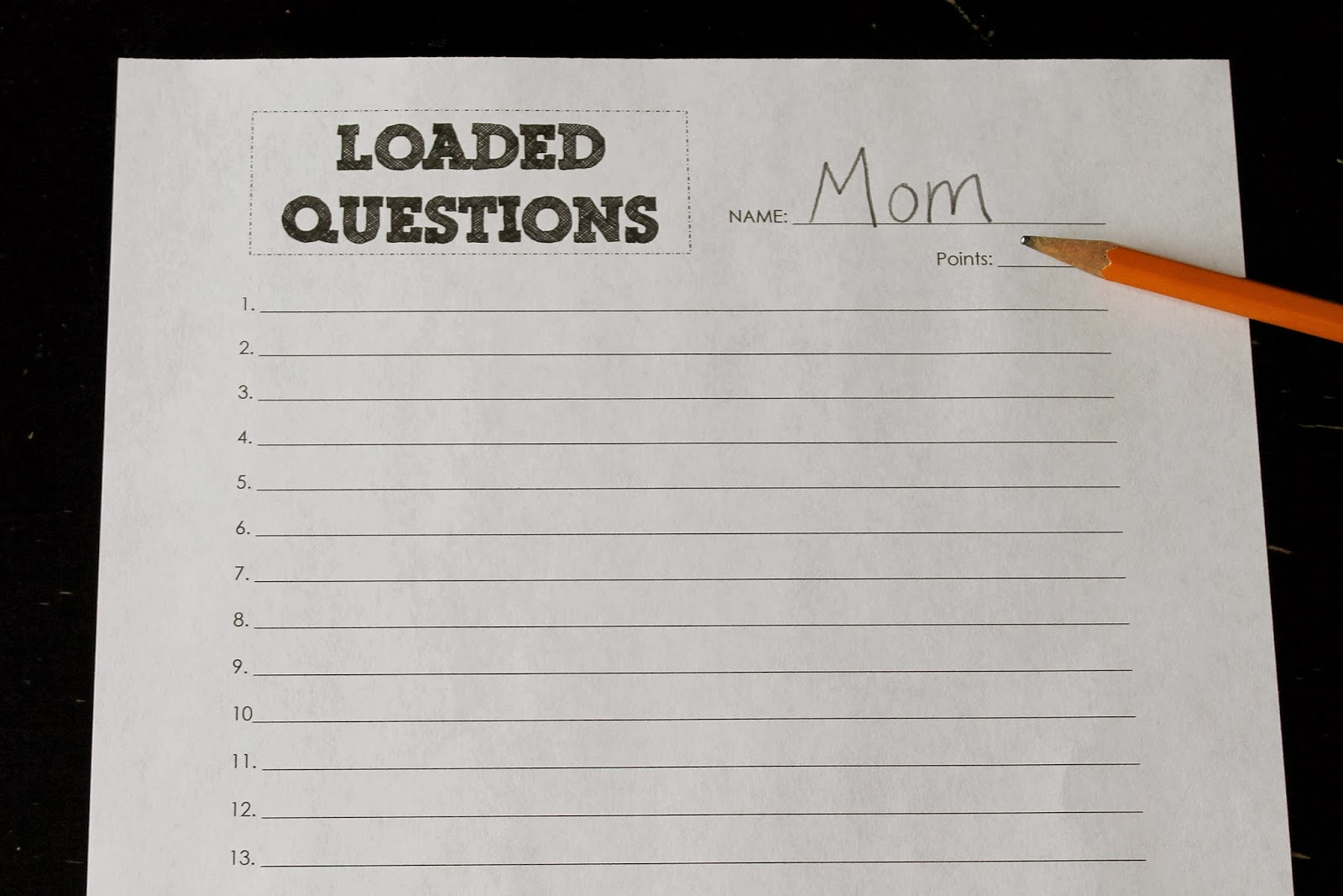 Loaded Questions Printable Answer Sheets