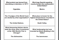 General Trivia Game Question Cards Student Handouts