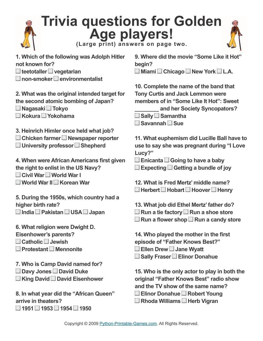 Printable Trivia Questions For The Elderly