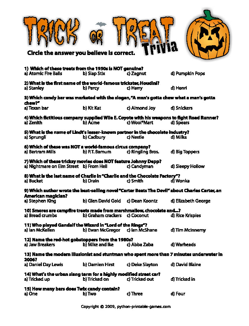 Free Printable Halloween Quiz Questions And Answers