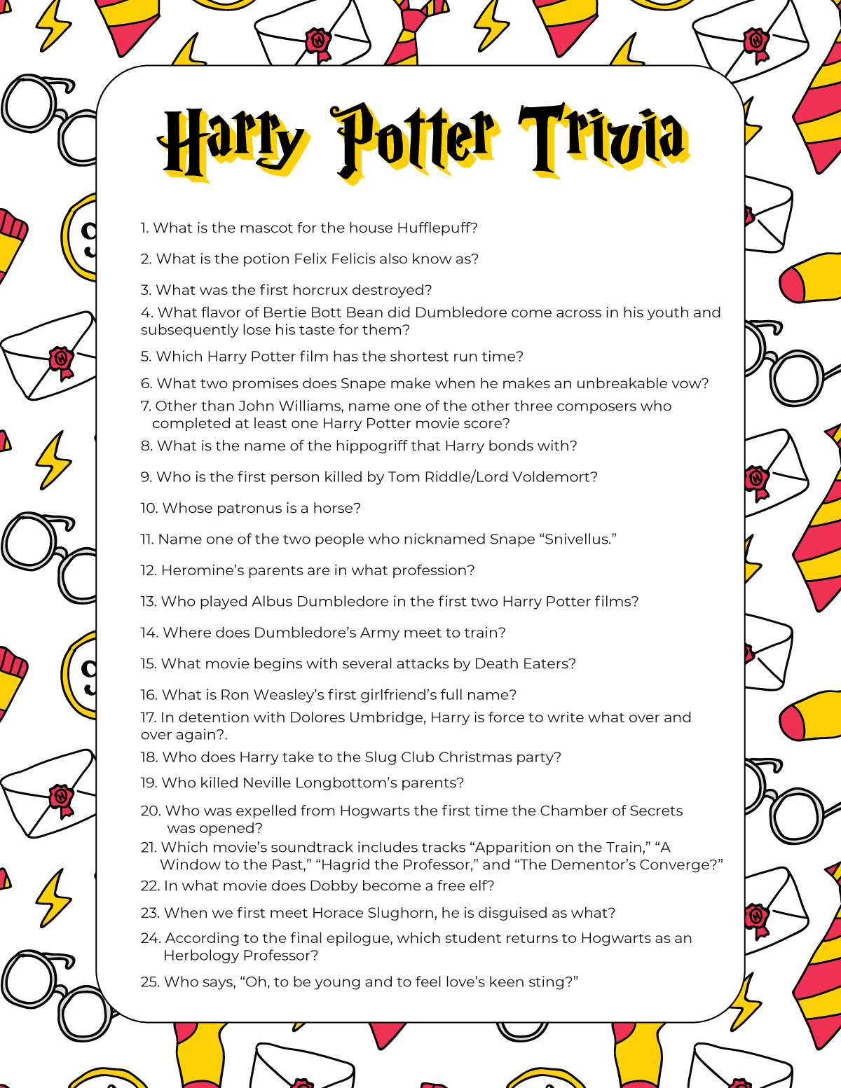 Harry Potter Trivia Questions For All Ages Free Printable