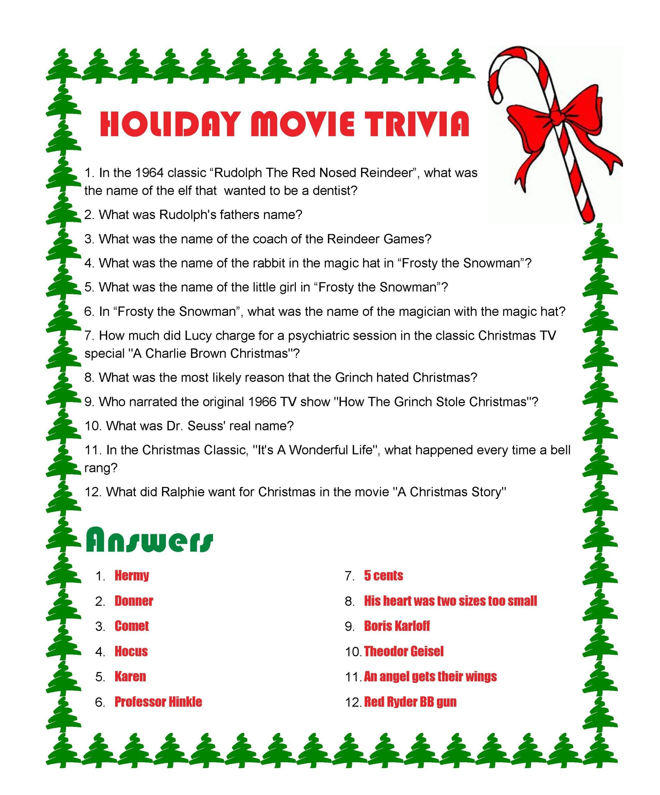 Holiday Movie Trivia Questions And Answers Printables
