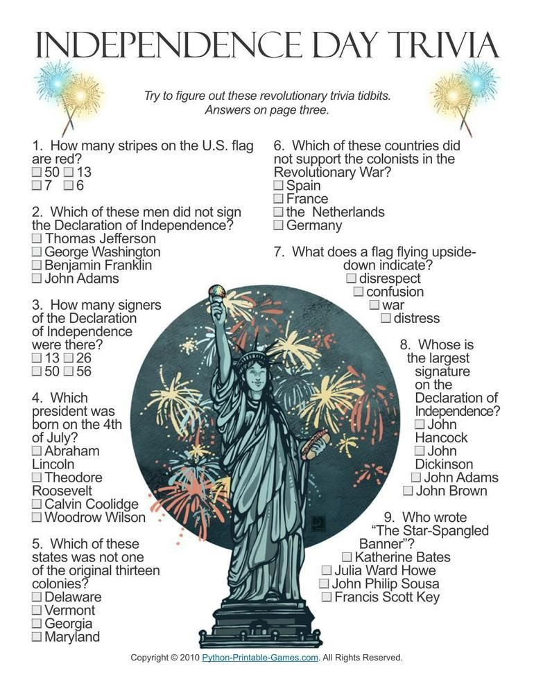 Independence Day Trivia Questions And Answers Printable