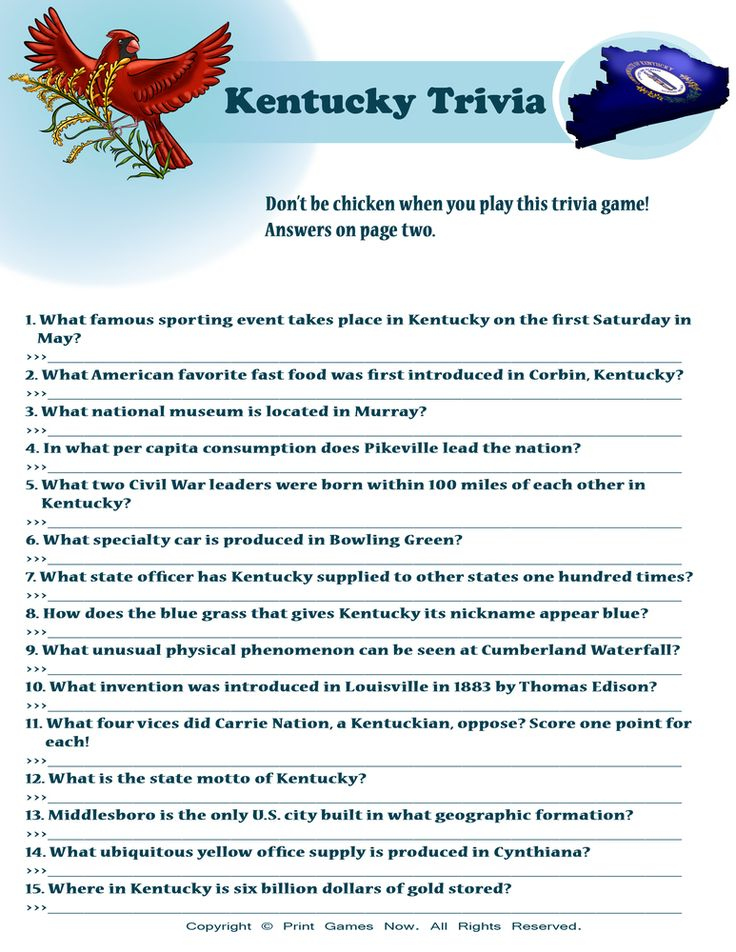 Kentucky Derby Trivia Questions Printable