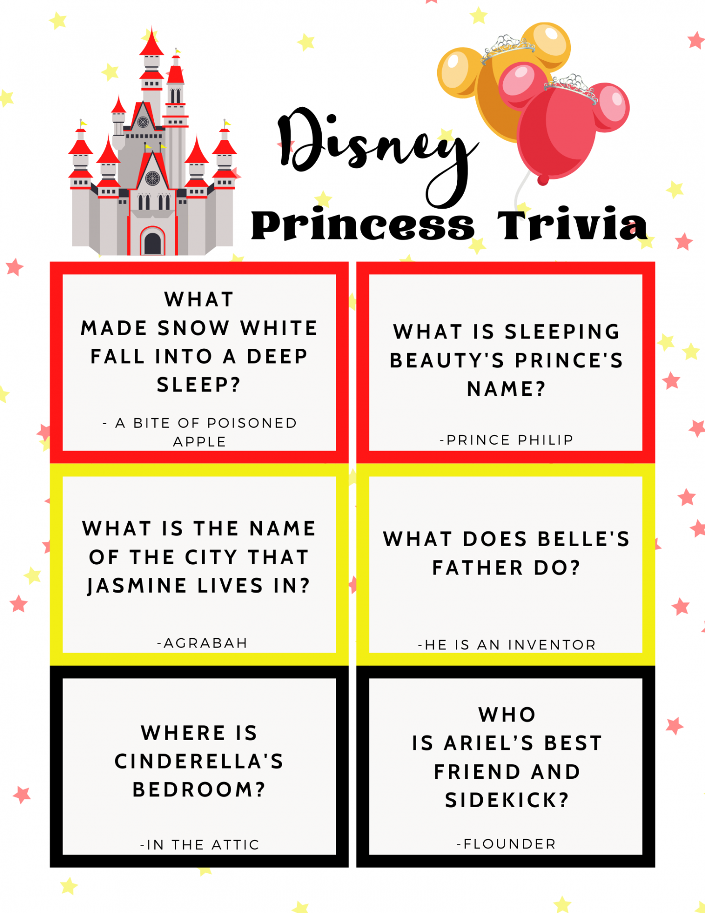 Disney Princess Trivia Questions And Answers Printable