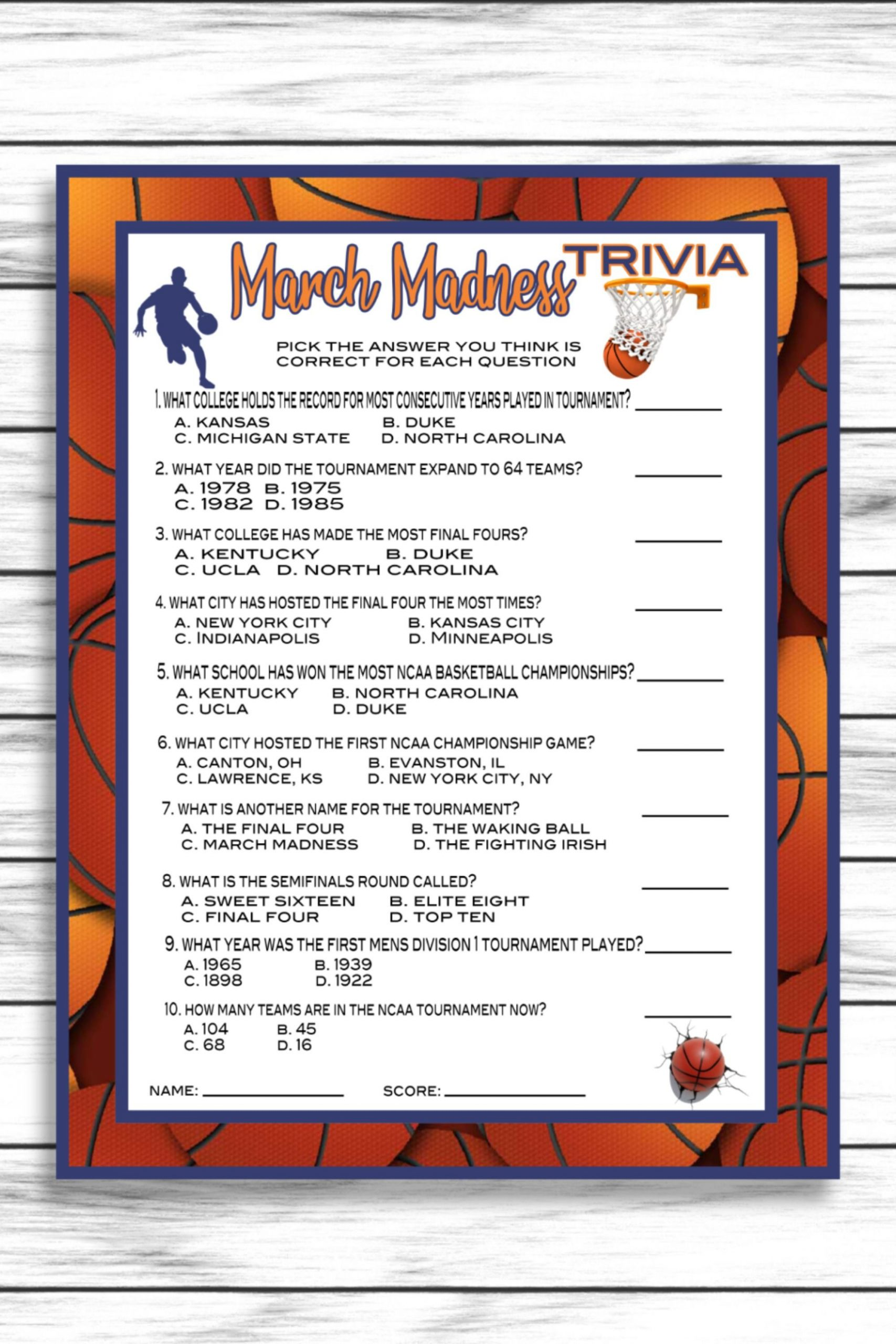 March Trivia Questions And Answers Printable