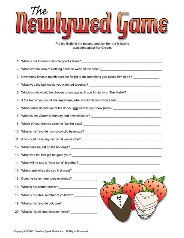 Free Printable Newlywed Game Questions