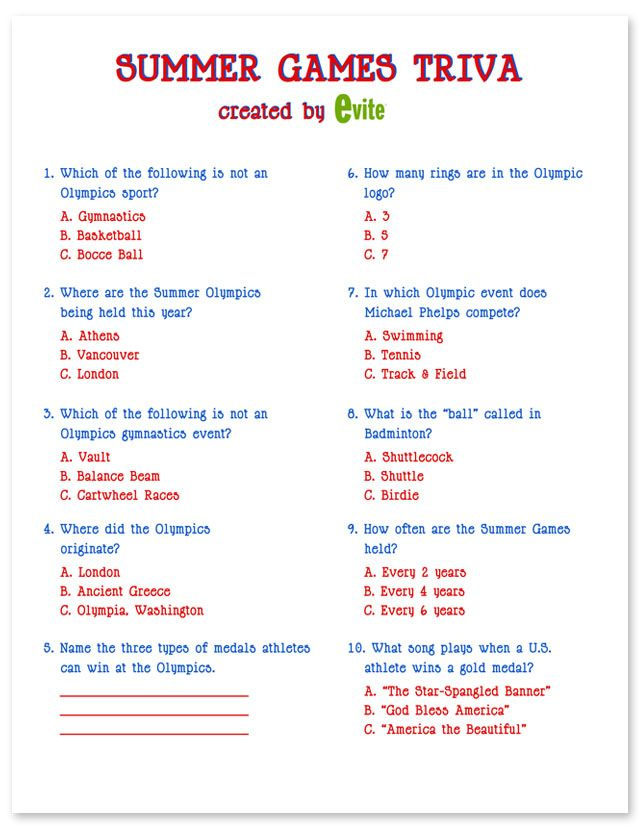 Easy Printable Summer Trivia Questions And Answers