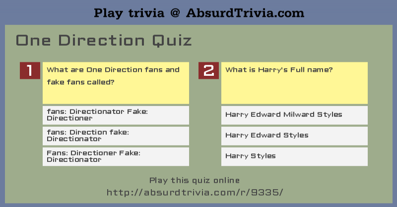 One Direction Printable Trivia Questions