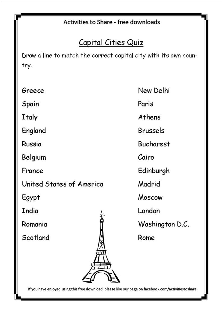 Geography Trivia Questions And Answers Printable