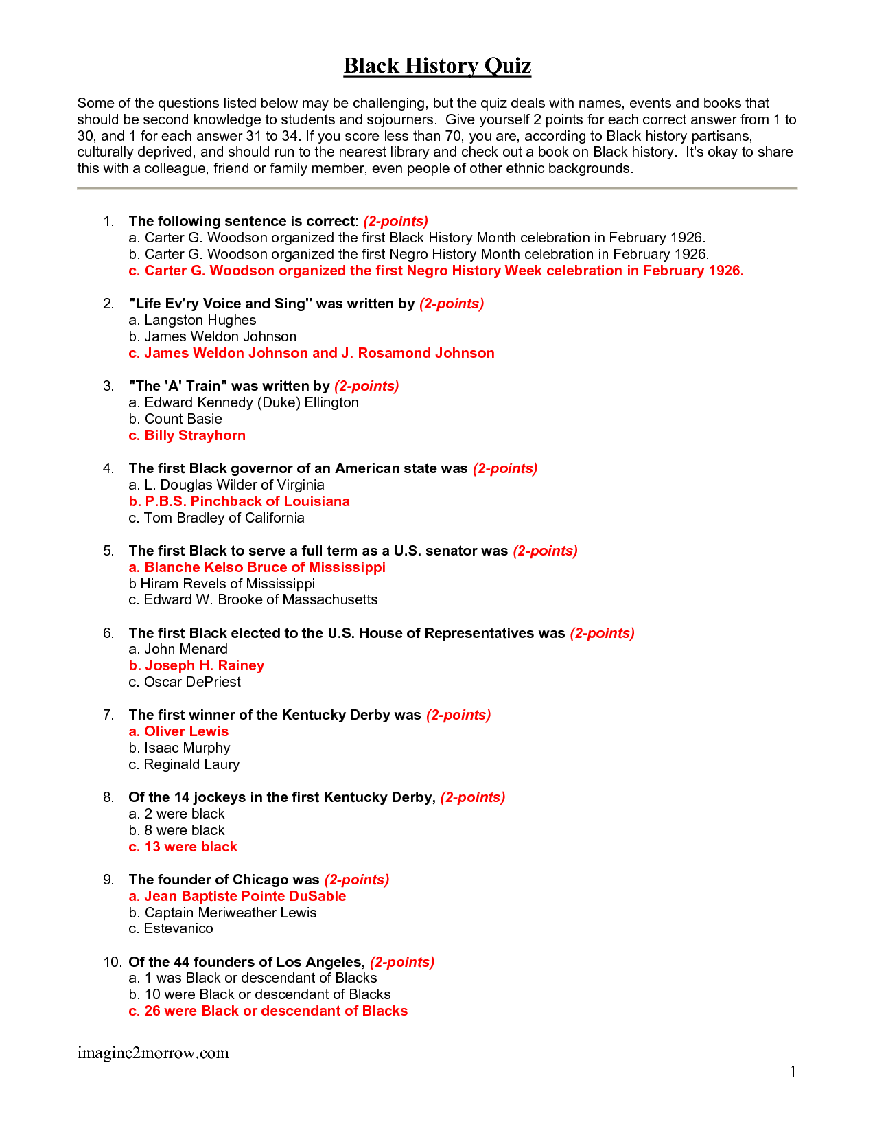 Black History Questions And Answers Printable
