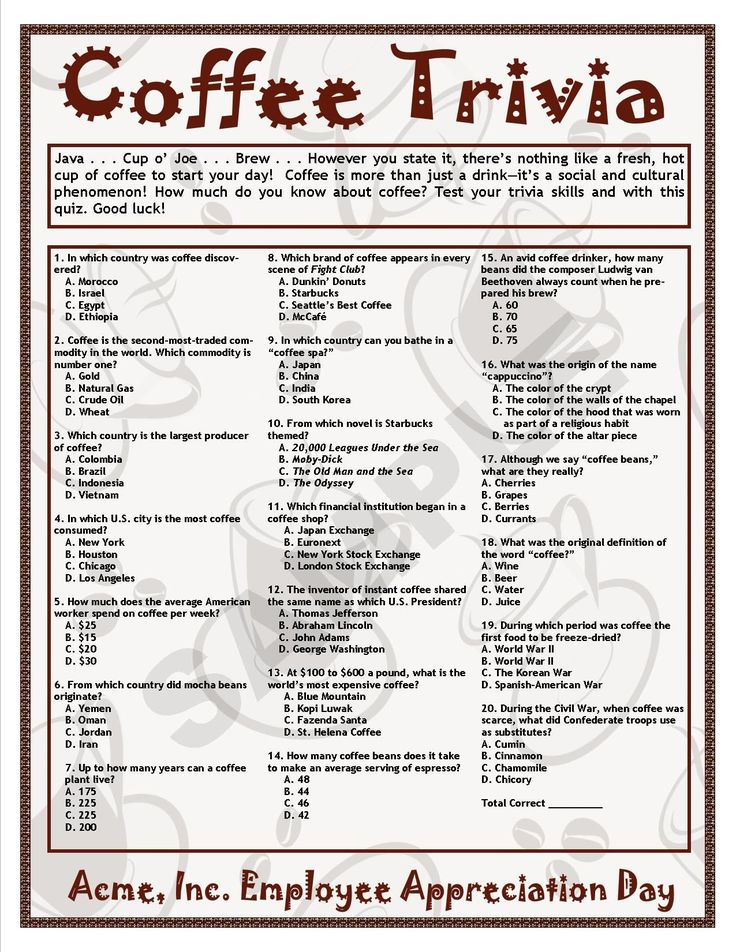 Trivia For Elderly Adults With Answers Printable