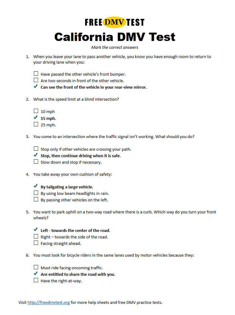 Driving Test Questions And Answers Printable