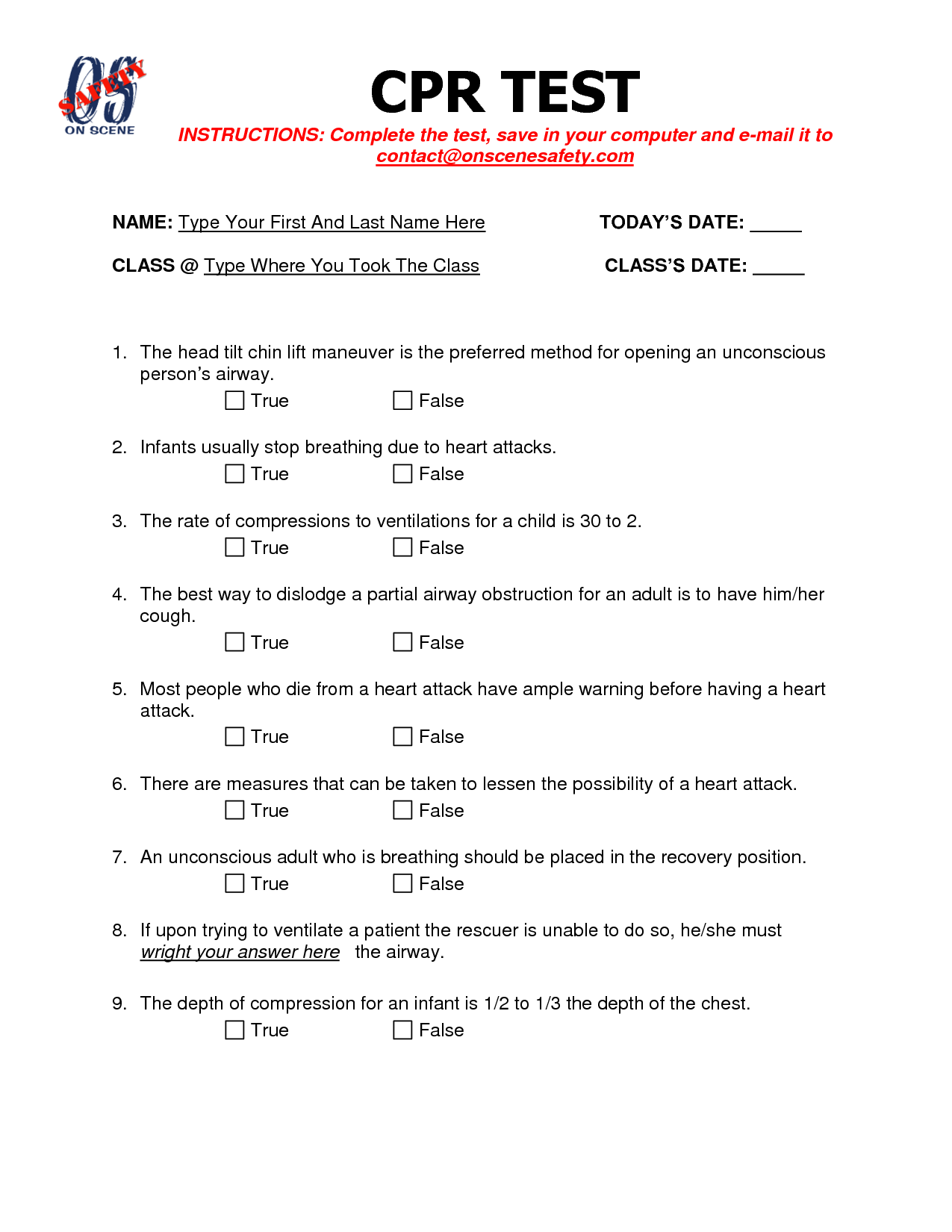 First Aid Quiz Questions And Answers Printable