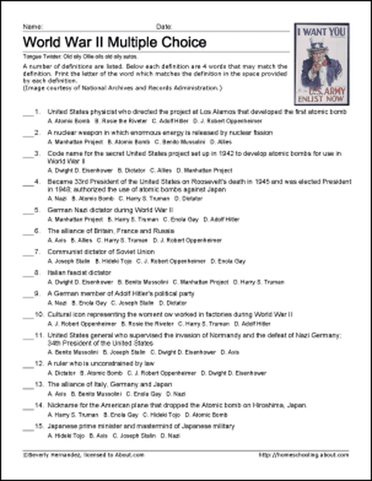 World War 2 Trivia Questions And Answers Printable