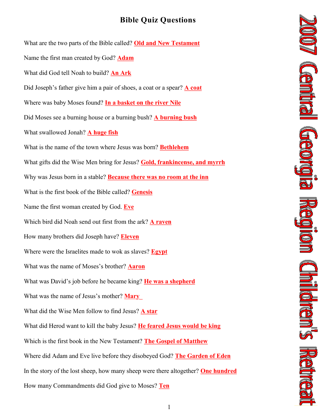 Printable Bible Quiz Questions And Answers Pdf