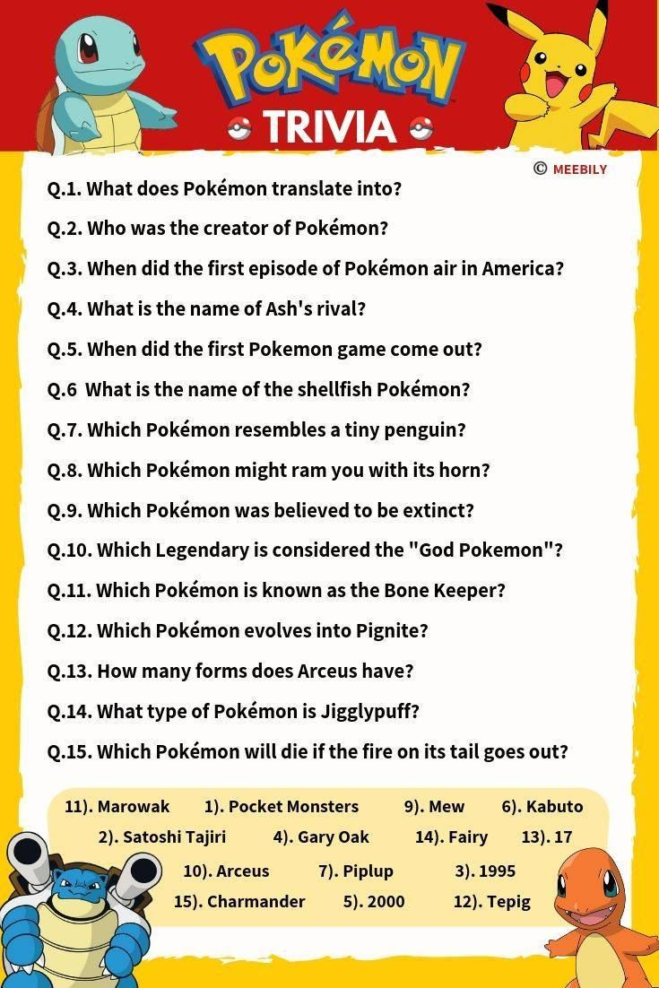 Pokemon Trivia Questions And Answers Printable