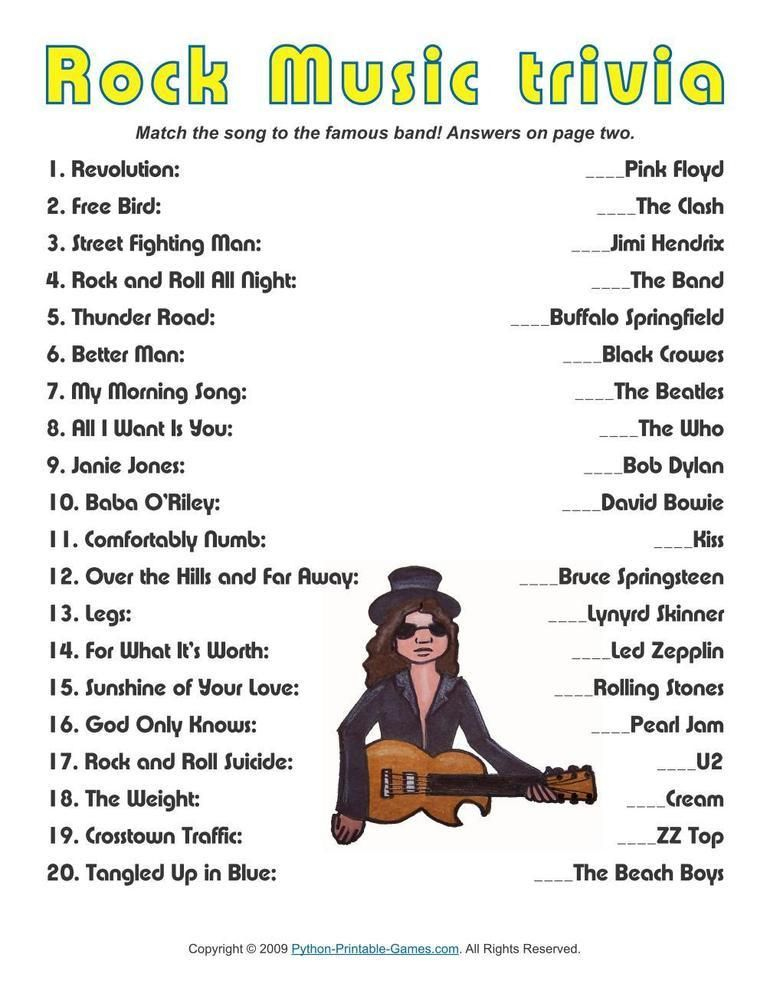 Printable Music Trivia Questions And Answers