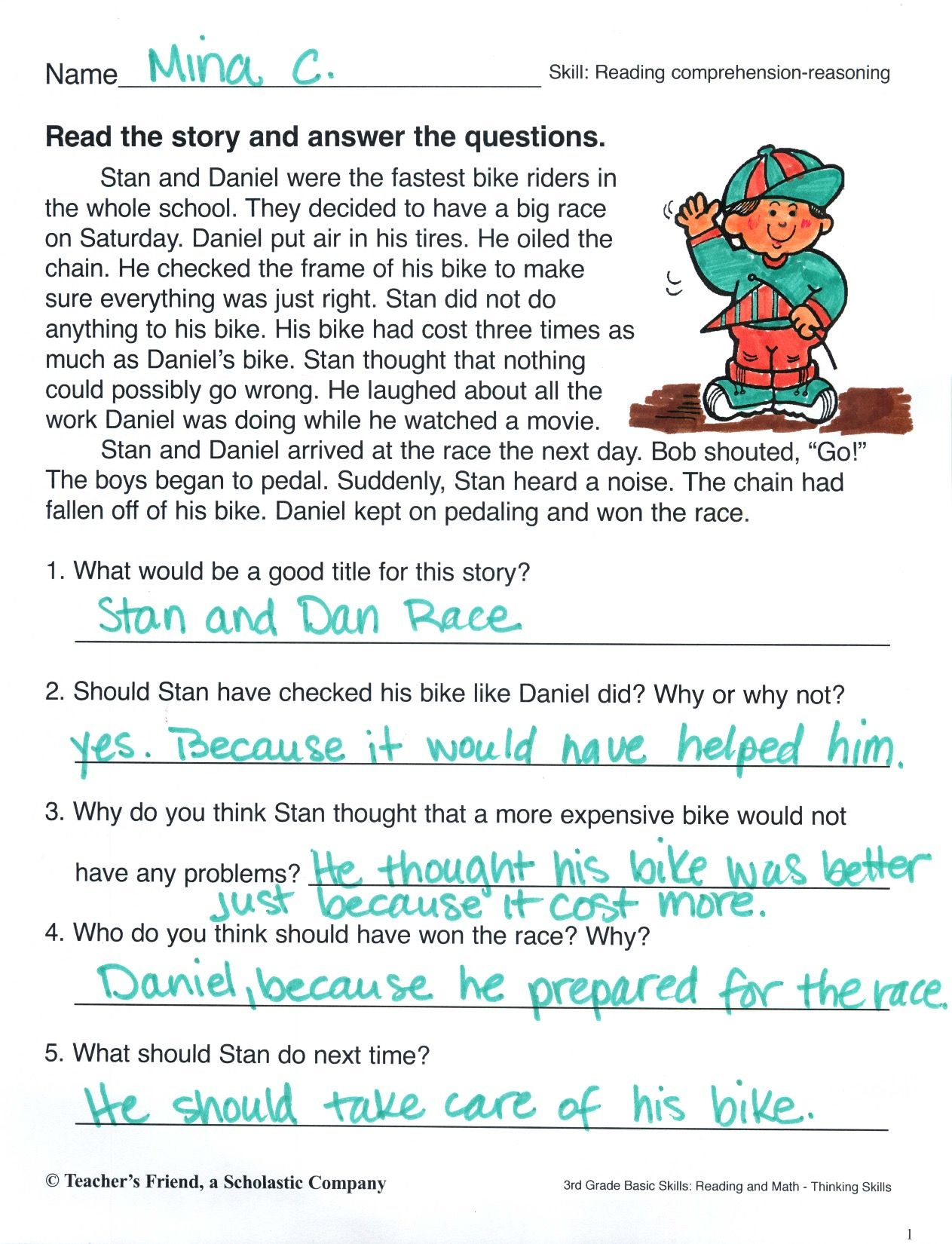 Practice Reading A Short Story And Answering Comprehension