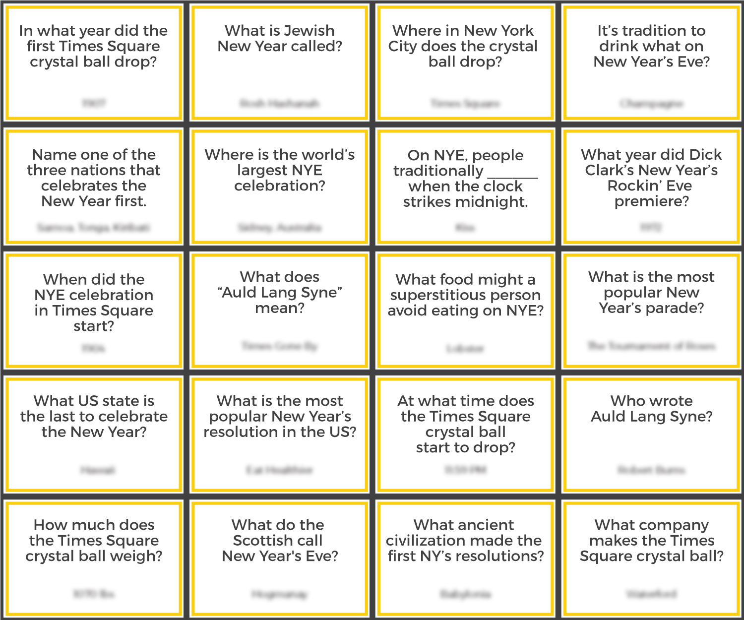 New Years Trivia Questions And Answers Printable