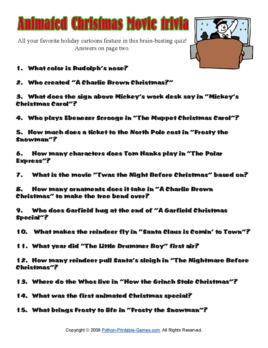 Funny Christmas Trivia Questions And Answers Printable