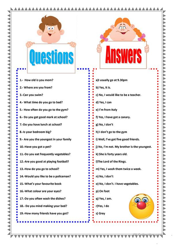 QUESTIONS AND ANSWERS Worksheet Free ESL Printable