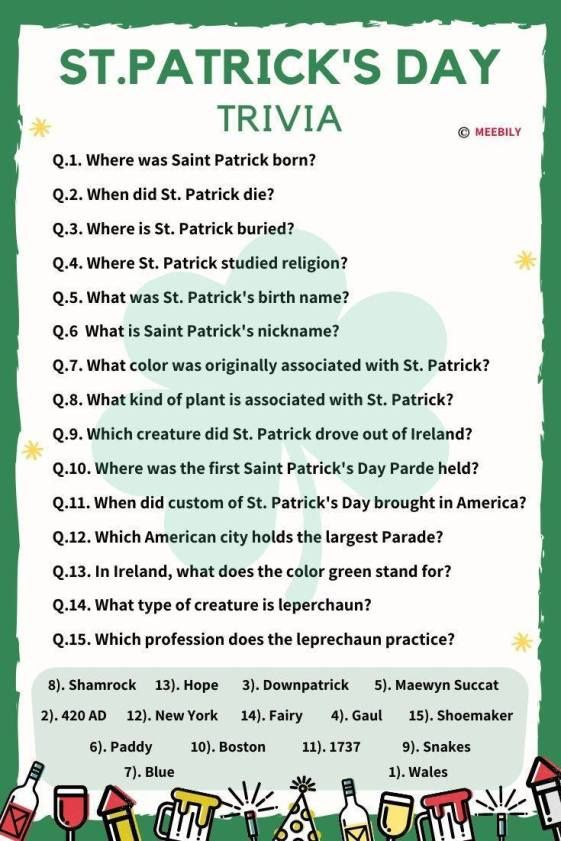St Patrick s Day Trivia Questions Answers Meebily