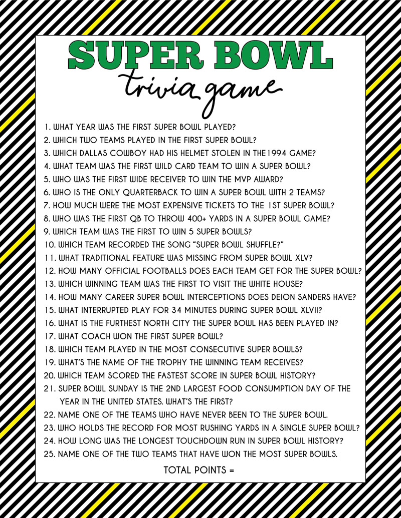 Super Bowl Trivia Game Free Printable Question Cards