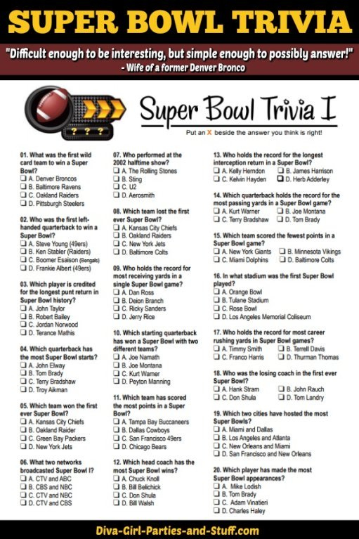 Super Bowl Trivia Multiple Choice Printable Game Updated