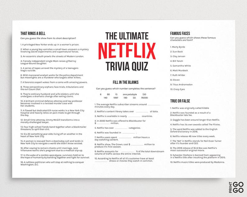 The Ultimate Netflix Quiz TV Family Games Television Game