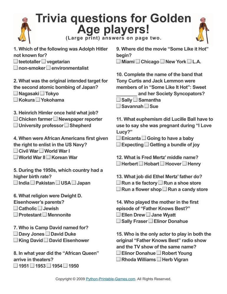Printable Trivia Questions And Answers For Elderly
