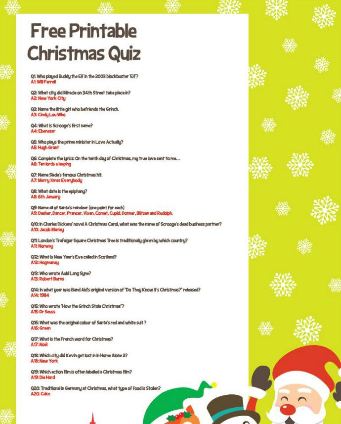 Try Our Free Christmas Quiz For All The Family Party