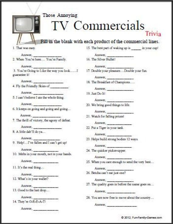Printable Tv Commercial Trivia Questions And Answers