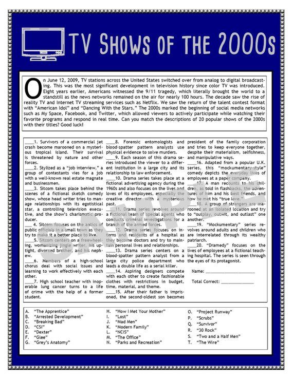 TV Shows Of The 2000s Printable Matching Game TV Trivia