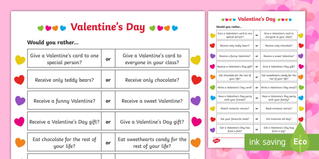 Valentine's Day Would You Rather Questions