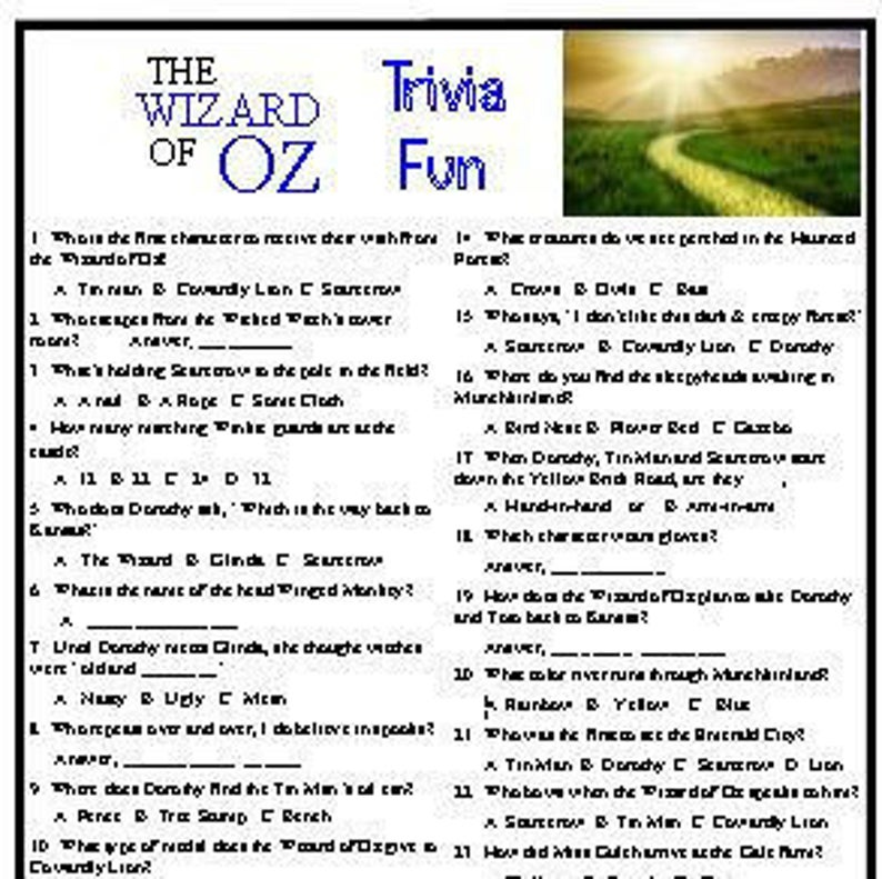 Wizard Of Oz Trivia Game Etsy